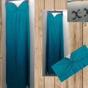 XXI Blue Strapless Maxi Dress Size Small